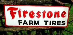 Large Vintage Hand Painted  FIRESTONE FARM TIRES Tractor Truck Gas Oil 36in Sign #firestone