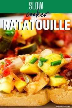 If you are looking for an easy and delicious way to get your veggies, give this Slow Cooker Ratatouille a try! It makes a beautiful vegan main course or a healthy appetizer. Once you make Ratatouille in your Crockpot, you will never go back to making it on the stove. Gluten Free Recipes For Breakfast, Healthy Gluten Free Recipes, Gluten Free Dinner, Healthy Recipes For Weight Loss, Delicious Vegan Recipes, Healthy Dinner Recipes, Vegetarian Recipes, Healthy Meats, Healthy Appetizers