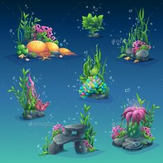 Collection of Seaweed Underwater - Download: http://graphicriver.net/item/collection-of-seaweed-underwater/16076282?ref=sinzo #Miscellaneous #Characters #gameassets