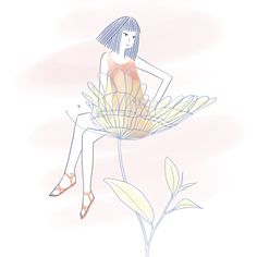 Flower Mood #paleanddelicate #illustration #japanese