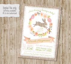 Bunny Baby Shower Invitation, Spring Baby Shower Invitation, Bunny Baby  Shower, Bunny Invitation, Burlap, Floral, Baby Shower Invitation