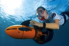 Want the thrill of riding on an underwater scooter? Explore reefs and shipwrecks with this Seadoo.