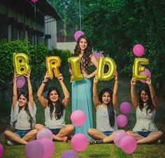 Bridesmaids photoshoot ideas | Bride foil balloons | Indian bridesmaids in coordinated outfits | BFFs weddings | Bride tribe | Bride Squad goals | Picture Credits: Paran Singh Photography | Every Indian bride's Fav. Wedding E-magazine to read.Here for any marriage advice you need | www.wittyvows.com shares things no one tells brides, covers real weddings, ideas, inspirations, design trends and the right vendors, candid photographers etc.