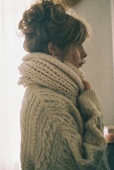 Oversized Cardigan With Oversized Scarf - me in my apartment always. so cold.