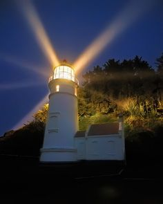 Heceta Head lighthouse, Oregan, US shines a beam out to sea visible for 21 miles.