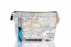 world map cosmetic bag - nice!