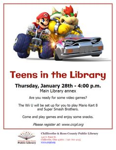 Teen Programs, Library Programs, Main Library, Mario Kart 8, Wii U, Games To Play, Video Games, Videogames, Video Game