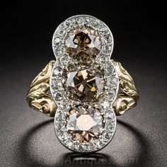 5.50 Carat Three-Stone Natural Cognac Diamond Edwardian Ring