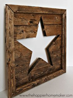 Pottery Barn Inspired Cut Out Wood Star Art - The Happier Homemaker