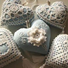 Handmade hearts...with beautiful crochet work!