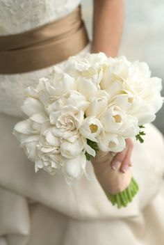 This combination of Gardenias and white tulips is beautiful too!  Gardenias could be tinted lavender too.