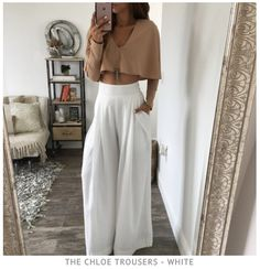 The Chloe Trousers - White Cute Summer Outfits, Spring Outfits, Casual Outfits, Cute Outfits, Fashion Outfits, Party Outfit Summer, Instagram Look, Spring Look, Spring Summer