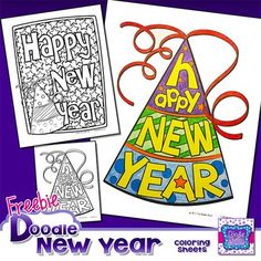 New Years Coloring SheetsIf you are the kind of educator that believes that creativity and visual arts belong in the classroom, then you'll love these New Years Doodle Coloring Sheets. I strongly believe that having arts in the class helps students with creating strategies, problem solving, and planning ahead (just to name a few).With that in mind, I created these coloring pages.