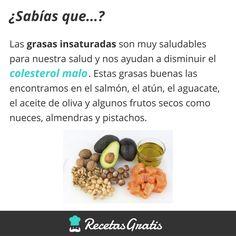 Sabías qué... Grasas insaturadas #RecetasGratis #Expresiones #Refranes #FrasessobreComida #FrasedelDía #SabíasQué #Salud #Alimentación
