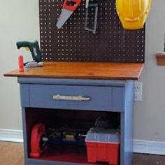DIY kids work bench...so smart for a baby boys Christmas present! brilliant-ideas