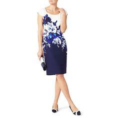 Buy Jacques Vert Crepe Contrast Print Dress, Multi/Navy Online at johnlewis.com