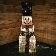 Kingfisher Indoor Square Snowman Christmas Light Figure Decoration - 75 Centimetre Tall