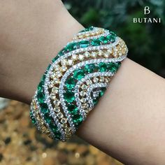 Gorgeous green emerald and diamond cuff. @djweofficial #Butani #ButaniJewellery