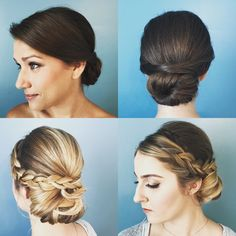 Smooth and braided bridal updos with aveda make up looks