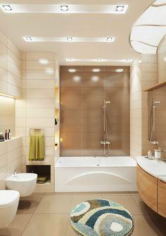 Дизайн ванной комнаты в бежево-коричневых тонах - Фото Дизайн интерьера