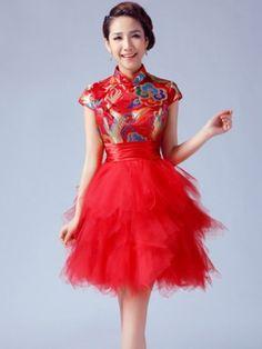 Short Tiered Qipao / Cheongsam / Chinese Wedding / Evening Dress