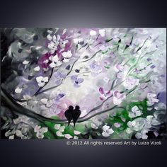 Okay, I really need to have this one. I'm going to have to save a little bit and get it. This is perfection to me... love it!   Original Large Abstract Painting Birds Flowers Tree by LUIZAVIZOLI