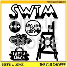 The Life's a Beach cut file set includes 6 beach by TheCutShoppe