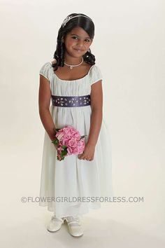 Flower Girl Dress Style 2016- Juliet Style Short Sleeved Crepe Dress with Choice of Sash Color $49.99