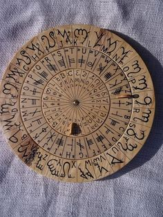 Cypher Wheel Cipher Disk Wood with Theban, Ogham, Enochian, & Celtic Rune Scripts in Black Ink, for your Secret Codes. Alphabet Code, Alphabet Symbols, Celtic Runes, Celtic Symbols, Magic Symbols, Viking Runes, Magick, Witchcraft, Cipher Wheel