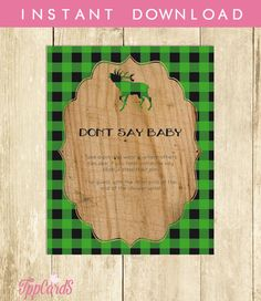 Don't Say Baby Game Baby Shower Games Printable Lumberjack Don't Say Baby Sign Diaper Pins Clothes Pins Game Instant Download 0009A-GR by TppCardS #tppcards #printable #invitations