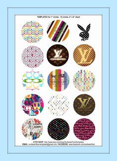 Coach / Louis Vuitton bottle cap image sheet by BlueEyedKisses, $2.00
