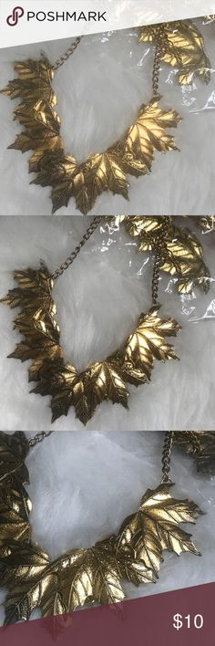 Gold leaf 🍃 statement necklace Gold leaf statement necklace . Make an offer ! Jewelry Necklaces