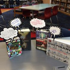 Table talkers...laminated thought bubbles that can be reused to write mini book reviews!