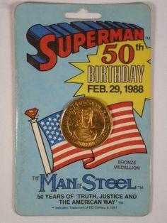 SEALED Superman 50th Birthday Bronze Medallion Coin Feb 29th 1988 DC Comics JLA