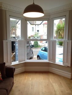 Cafe style shutters opened on a Victorian bay window Interior Doors For Sale, Best Interior Paint, Modern Interior, Home Interior Design, Cafe Style Shutters, Interior Window Shutters, Interior Windows, Wooden Shutters, Best Interior Design Websites