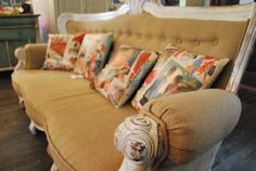Totally my style! French Sofa, Eccentric Style, Living Spaces, Living Room, Linens And Lace, Antique Stores, Great Rooms, Burlap, Upholstery