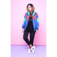 House of Jam 90s Vintage Retro Sports Shell Bomber Jacket ($40) ❤ liked on Polyvore featuring outerwear, jackets, multicolour, pink bomber jacket, vintage jacket, oversized bomber jacket, boyfriend jacket and logo jackets