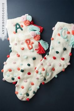 Pommed Monogram Stocking | Shop Anthropologie Christmas Decorations