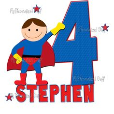 Personalized Custom SUPER HERO Birthday Party Name by iselltshirts