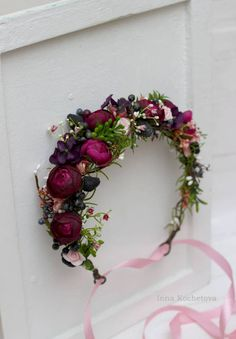Purple pink greenery berries flower crown Flower halo Wedding