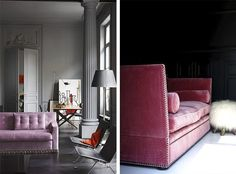 It's the hottest design trend in the last couple of moths and we seem to not get enough of it: the pink sofa. They come in all shapes, sizes and colors. From a pale shade to a hotter, sightly bubblegu Pink Sofa, Home Comforts, Design Trends, Sweet Home, Lounge, Friday, Home Decor, Furnitures, Colors