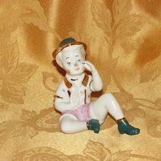Vintage Hand Painted Pinocchio Figurine Porcelain Ceramic Opalescent Gold Book | eBay