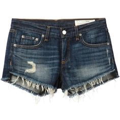 Rag & Bone /Jean frayed denim shorts ($165) ❤ liked on Polyvore featuring shorts, bottoms, pants, jeans, frayed shorts, cotton shorts, frayed jean shorts, denim shorts and short jean shorts