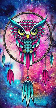 DIY Diamond Painting - Owl Dreamcatcher Galaxy Wallpaper, Pozadí V Telefonu, Omalovánky Mandaly