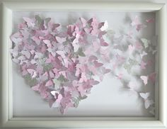 3d butterfly heart picture,pink and silver hand crafted made with lots of 3d butterflies - Breakaway heart by Flutterframes on Etsy