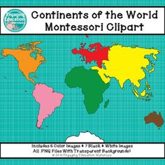 Continents of the World Montessori Clipart  This set of Continents of the World clipart corresponds to the Montessori continent colors.  This clipart can be used for personal or small business use, such as Teachers Pay Teachers or Teachers Notebook.  There is a total of 13 images (6 color images and 7 black & white images).