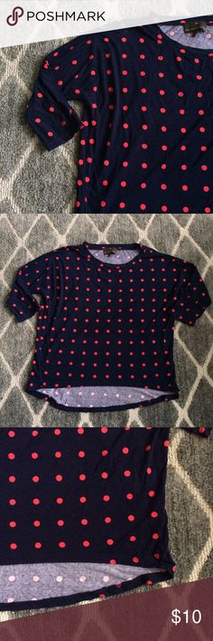 Polkadot Top Navy top with hot pink polka dots on it; high-low fit, but not a crop top; three-quarter sleeve length. Perfect top to wear casually with a pair of jeans, or you can dress it up. Get this statement top from me for cheap! :) Fenn Wright Manson Tops Blouses