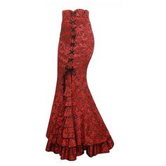 Long Fishtail Corset Lace-Up Floor length Skirt via Polyvore featuring skirts, fishtail skirt, long red maxi skirt, maxi skirt, long trumpet skirt and fish tail skirt