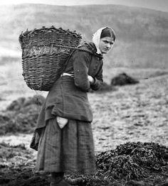 Tour Scotland Photographs: Old Photograph Crofter Carrying Creel Basket Isle Of Skye Scotland