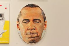 """Portrait of President Obama by Robin Williams    Detail and installation view of """"LBJ,"""" 1967 (synthetic polymer paint and pencil on wood) by Marisol Escobar at MoMA was the inspiration for Brenda Garand's portraits of Mrs. Obama and her daughters, shown above...."""